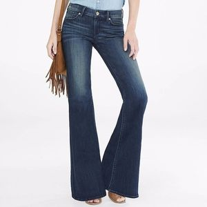 Express Wide Leg Flare Jeans Dark Wash  Mid Rise